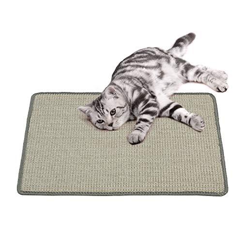 PETTOM Kratzmatte Katze, Kratzteppich Sisal, Kratzbretter Boden rutschfest, Natürlicher Sisalteppich für Katzen (40×60cm, Grau)