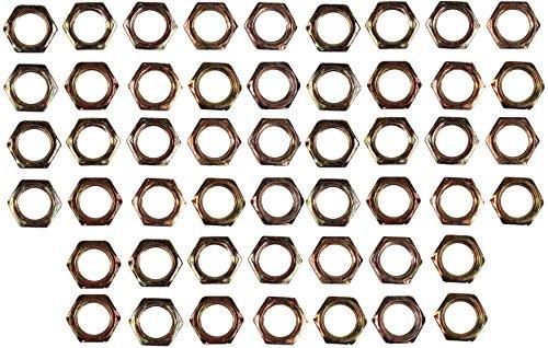 Creative Hobbies ELY233 - Steel Hex Lock Nut Fasteners - Yellow Zinc Coated, Fits 1/8IP Standard Lamp Pipe, Hardware DIY Repair Part - Pack of 50 Pieces