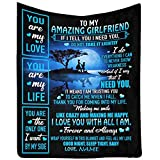 Customized Bed Blanket Throw to My Amazing Girlfriend from Boyfriend, I Love You with All I Am Forever and Always Blanket Throws Gifts Crib Size