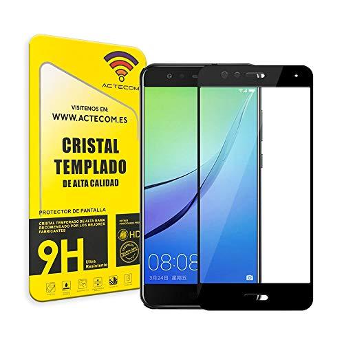 actecom® Protector Pantalla 3D 5D Negro Cristal Templado para Huawei P10 Lite Completo con Marco 2.5D