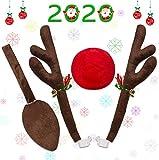 Minetom Cuernos de Reno para Coche Reno de Navidad para Coche Kit de Decoración de Cuernos de Reno Rudolf y Nariz Roja con Campanillas y Cola Decoración de Ventana de Coche para Navidad