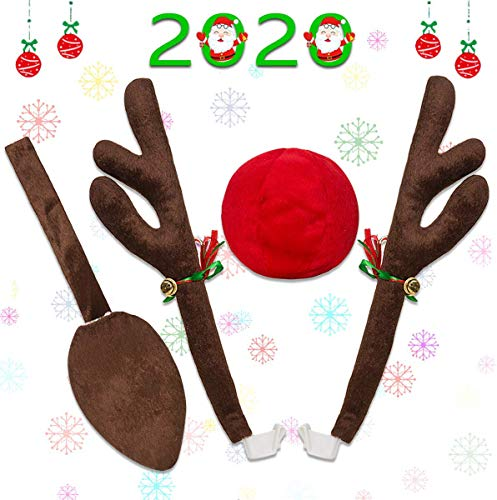Mineton Car Reindeer Antlers Christmas Reindeer Vehicle Christmas Decorations Auto Decoration Kit with Tail and Jingle Bells Reindeer for Car Christmas