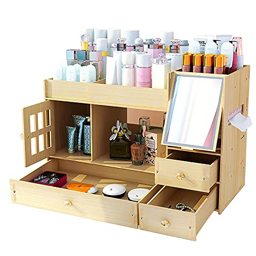 NUODWELL - Organizzatore per trucchi, in legno, con cassetti e porta specchio, multifunzione, per riporre gioielli, per la cura della pelle e per la finitura del rossetto (acero bianco)