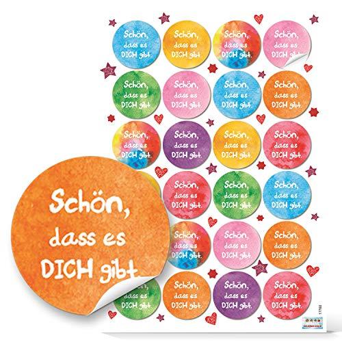 Logbuch-Verlag 48 bunte runde Aufkleber SCHÖN DASS ES DICH GIBT 4 cm Sticker Etiketten Verpackung Geburtstag Freunde Familie Kinder Geschenk Muttertag