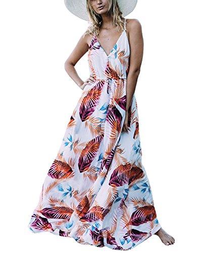 Auxo Damen Blumen Kleid Ärmellos V-Ausschnitt Kleider Lange Dress Party Club Strandkleid Weiß 2 EU 46/Etikettgröße 2XL