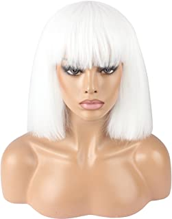 WeKen Women's Fashion Wig Short Bob Kinky Straight Full Bangs Synthetic Hairpieces Solid White