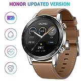 HONOR Smartwatch Magic Watch 2, 46 mm Fitness Tracker Armband, Amoled Touchscreen, GPS, Fitness Armbanduhr, Herzfrequenzmessung, 5 ATM wasserdicht,Braun