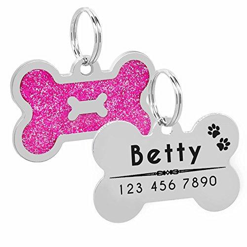 Medagliette per cani con incisione per animali domestici, con brillantini, personalizzabile