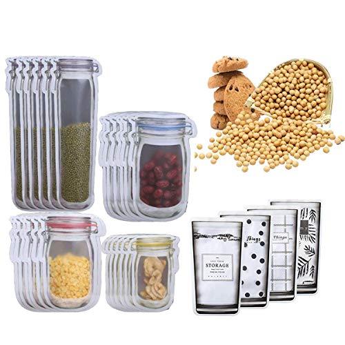 33Pcs Mason Jar Einmachglas Taschen Lebensmittel Aufbewahrungsbeutel Zip Beutel Wiederverwendbare zum Backen von Keksen Snacks Süßigkeiten für Reisen, Camping, Picknick Mason Bag