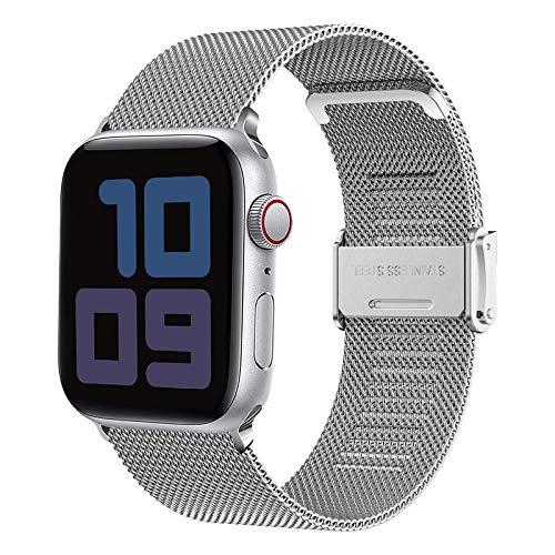 Yaspark Adecuado para Apple Watch 38mm 40 mm 42mm 44mm Correa, Correa de Acero Inoxidable Serie iWatch 6/5/4/3/2/1/SE