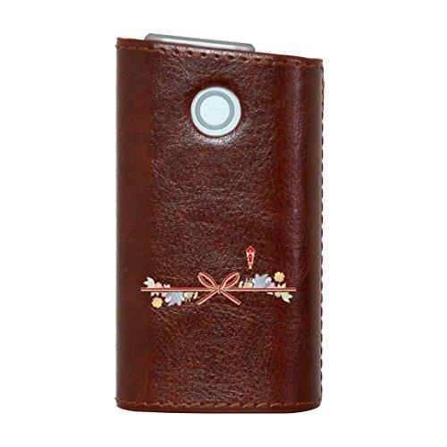 glo グロー グロウ 専用 レザーケース レザーカバー タバコ ケース カバー 合皮 ハードケース カバー 収納 デザイン 革 皮 BROWN ブラウン ユニーク 花 フラワー リボン 005992