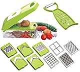 Scholazs Multipurpose Vegetable and Fruit Chopper Cutter Grater Slicer Plastic Vegetable and Fruits Grater, Chipser Chopper, Slicer, Cutter and Dicer with 12 Stainless Steel Blades and 1 Pillar