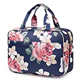 Large Hanging Toiletry Bag Travel Makeup Bag Cosmetic Organizer for Women and Girls (Blue Peony)
