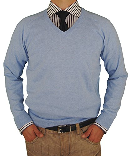 Luciano Natazzi Mens Sweater V-Neck Cotton Pullover Cashmere Touch Slim Fit (XXX-Large, Light Blue)