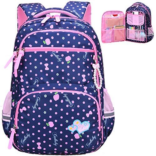 Water Resistant Girls Backpack for Primary Elementary School Large Kids Bookbag Laptop Bag (Large, Style 1- Blue)