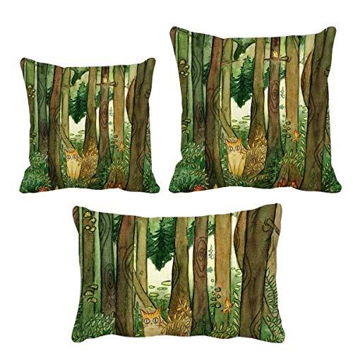 DIYthinker Miaoji - Juego de fundas de cojín con diseño de bosques de gatos, diseño de hongos