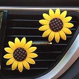 Zadin 2xPACK Sunflower Car Accesories Cute Car Air Freshener Sunflower Air Vent Clips Sunflowers Gift Decorations Girasoles Car Clip Interior Air Vent