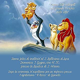 Biglietti Inviti battesimo personalizzati re leone - partecipazioni battesimo bimbo bimba set da 10 biglietti