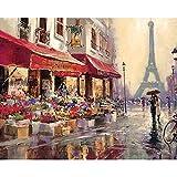 ZXDA Frame Street Scenic Dipinto Fai da Te con i Numeri Paesaggio Astratto Tela Disegno Pittura acrilica Dipinto a Mano Art Wall Decor A3 40x50cm