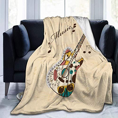 AEMAPE Guitarra Abstracta Funk Instrumento Microfibra Toda la Temporada Manta cálida Manta para Sala de Estar/Dormitorio/sofá sofá