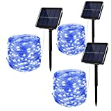 Solar String Lights Outdoor,3 Pack 33FT 100 LED Silver Wire Waterproof Solar Fairy Lights with 8 Modes for Patio Yard Decor, Dusk to Dawn Auto On/Off (Blue)