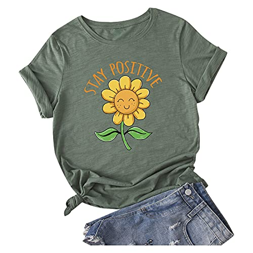 Summer Women Sunflower Tshirt Tops Trendy Casual Loose Fit Crewneck Blouses Short Sleeve Cute Comfy Soft Tunic Tees