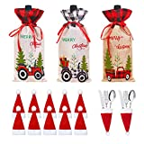 3pcs Christmas Wine Bottle Covers with 12 Santa Hats Silverware Holder,Burlap Wine Bottle Gift bags Farmhouse Tableware for Christmas New Year Decoration