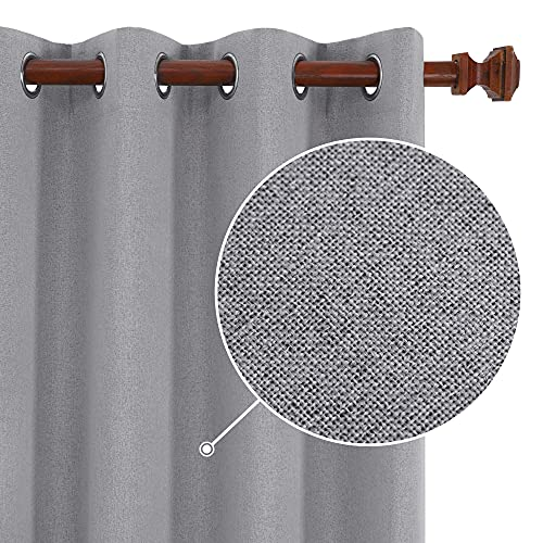 Deconovo 100% Blackout Curtains, Linen Soundproof Curtains, Noise Reducing Panels, Living Room Curtains for Windows (Grey, 2 Panels, 52x72 Inch)