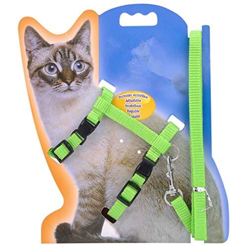 ペット猫用ハーネスとリーシュ子猫調節可能な鉛ナイロンストラップベルト毎日の散歩に安全ロープを使用 によってSamGreatWorld (緑)