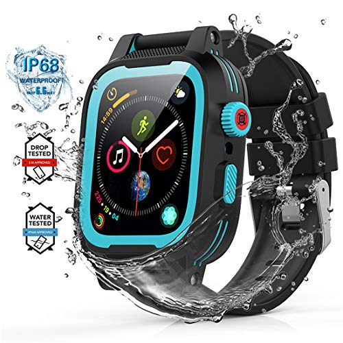 YOGRE Waterproof Case for 42mm Apple Watch Series 3 and Series 2 with Built-in Screen Protector Full Shell for Waterproof Anti-Scratch Shockproof Impact Resistant 2 Watch Band (Blue 42mm)