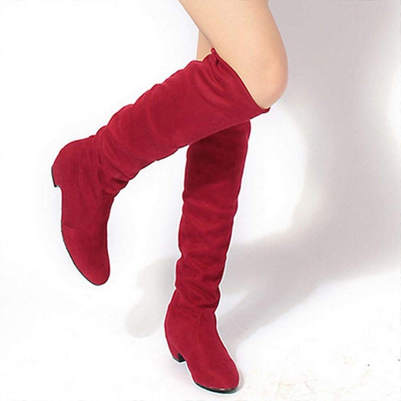 Z&J Damen Stiefel - Herbst Und Winter Niedrige Niedrige Niedrige Ferse Damen Stiefel Plus Samt Warmes Peeling Über Die Knie Stiefel Damen Schuhe 36-43  6b807a