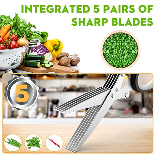 Updated 2020 Herb Scissors Set - Cool Kitchen Gadgets for Cutting Fresh Garden Herbs - Herb Cutter Shears with 5 Blades and Cover, Sharp and Anti-rust Stainless Steel, Dishwasher Safe (Black-White)