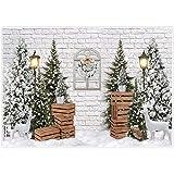 Allenjoy Telón de fondo de invierno para fotografía árbol de Navidad color blanco nieve ladrillo decoración de pared pancarta para baby shower cumpleaños cabina de fotos de estudio de 2,1x1,5m
