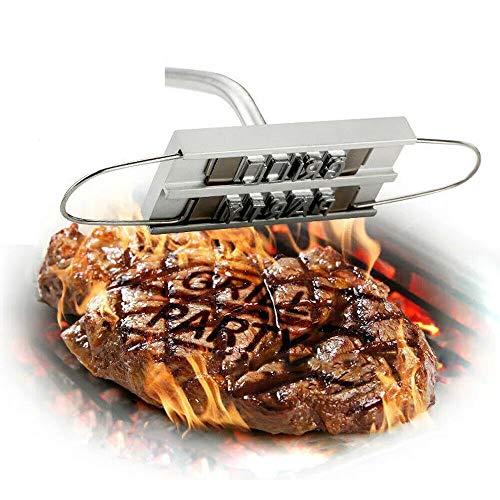 YUEWO BBQ Brandeisen mit wechselbaren Buchstaben - Fleischstempel für den GrillPersonalisiert mit Namen-Brenneisen - Grillzubehör - Holzgriff - Fleisch-Branding - Grill-Werkzeug