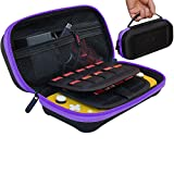 Large Carrying Case for Nintendo Switch Lite, Fits AC Adapter Wall Charger, Compatible with Hori Duraflexi Protector, Large Storage Pouch for Switch Lite Accessories - Purple/Black