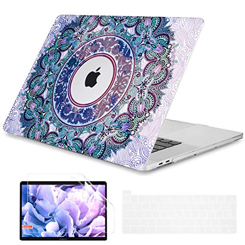 Dongke MacBook Pro 16 Zoll Hülle Modell A2141 (2019 veröffentlicht), Kunststoff Hartschale Cover nur kompatibel mit MacBook Pro 16 Zoll mit Retina-Bildschirm und Touch Bar, passt Touch ID, lila Paisley