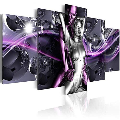 WYTX Juego de 5 lienzos modernos y metalizados abstractos para la pared de 150 x 75 cm, con marco