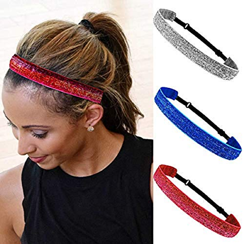 Simsly Sport Bow Glitter Headband Elastic Red Turban Hair Band Yoga Head Wraps for Women and Girls (Pack of 3)