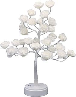 ITICdecor Rose Fleur Arbre Chevet Lumières Bonsaï Lampe USB Alimenté Par Pile 30LED Table Bureau Léger Chambre Décoration ...