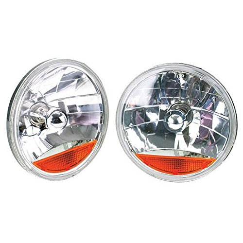 7 Inch Fluted Replacement Headlights w/Amber Turn Signal