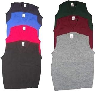 ONLYuniform Mens Kids Plain V Neck Sleeveless Sweater Jumper Tank Top Jersey Golf Casual UK