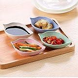 PiniceCore 4pcs Multiusos De La Hoja con Forma De Pequeño Condimento Platillos Aperitivo Placas para Ensalada Vinagre Salsa De Soja Wasabi