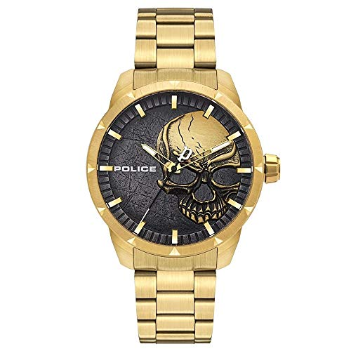 Police Herren Analog Quarz Uhr mit Edelstahl Armband PL15715JSG.78M