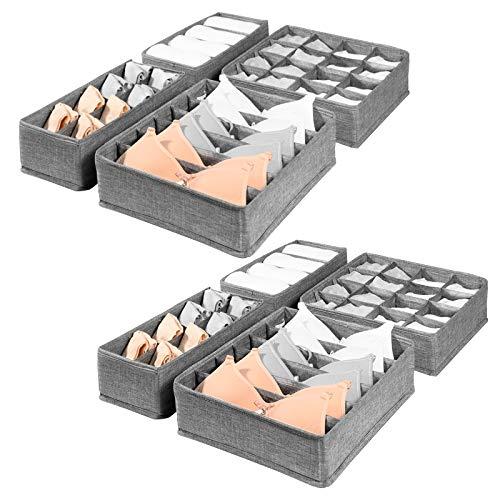 SimpleHome Pure | Schubladen Aufbewahrungsbox für Unterwäsche aus Sackleinen | Grau | 8er-Set.