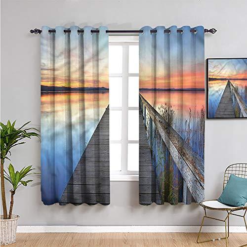 Seascape Premium Cortinas opacas de 160 cm de largo idílicos reflejos de puesta de sol uso diario 100 cm de ancho x 63 cm de largo