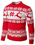 H2H Mens Casual Slim Fit Knitted Crew Neck Sweaters Thermal of Various Christmas Pattern RED US M/Asia L (CMOSWL055)