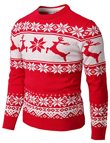 H2H Mens Casual Slim Fit Knitted Crew Neck Sweaters Thermal of Various Christmas Pattern RED US 2XL/Asia 3XL (CMOSWL055)
