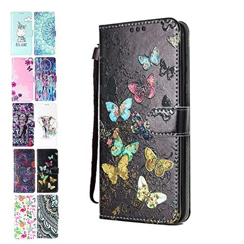 Ancase Lederhülle kompatibel für Samsung Galaxy A10 / M10 Hülle Bunter Schmetterling Muster Handyhülle Flip Hülle Cover Schutzhülle mit Kartenfach Ledertasche für Mädchen Damen