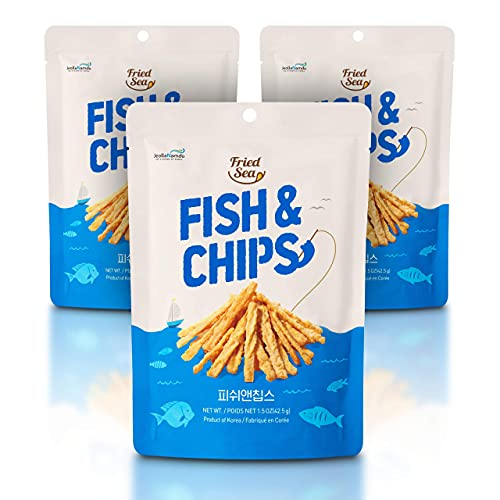 Fish and Chips Made wtih Real Fish [ 3 PACK ] Crunch + Crispy Healthy Snacks, Low Calorie Finger Food, Asian Snack ON THE GO by [FRIED SEA] Made in Korea