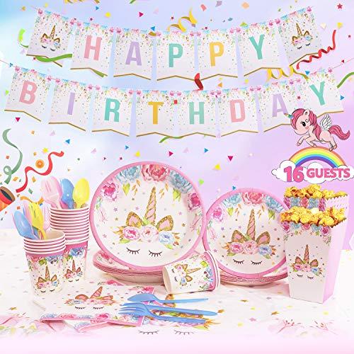 AresKo Juego de 122 piezas de unicornio para fiesta de cumpleaños desechables, color rosa, para niñas, juego de vajilla de cumpleaños para 16 niños